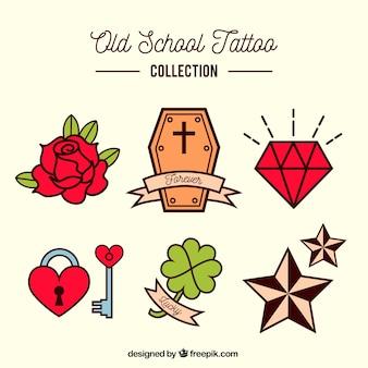 Colección colorida de tatuajes old school