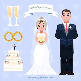 Colección con recién casados y artículos decorativos