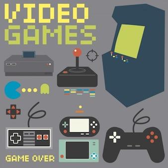 Colección consola de juegos de la vendimia
