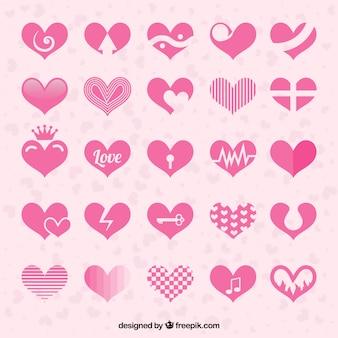 Colección de abstractas rosa corazones