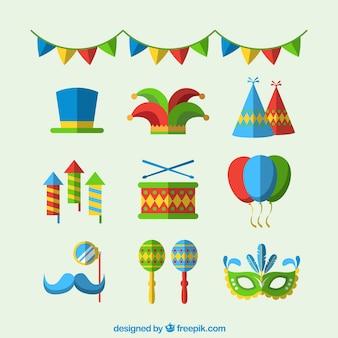 Colección de accesorios de carnaval de brasil en diseño plano
