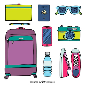 Colección de accesorios de viaje dibujados a mano