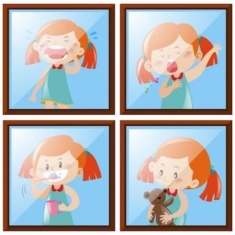 Colección de acciones de niña