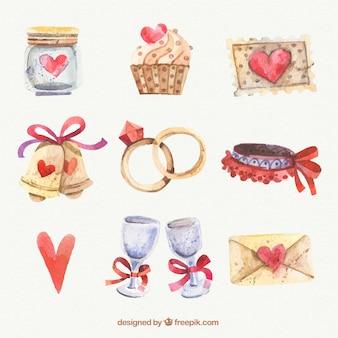 Colección de acuarela con elementos de boda