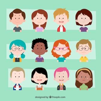 Colección de adorables avatares de niños