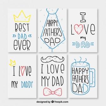 Colección de adorables tarjetas del día del padre dibujadas a mano