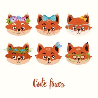 Colección de adorables zorros