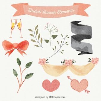 Colección de adornos de boda de acuarela