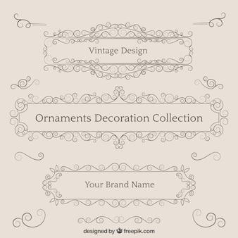 Colección de adornos de decoración en estilo vintage