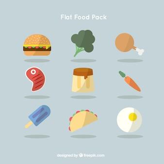 Colección de alimentos planos