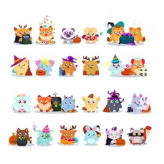 Colección de animales bonitos con disfraces de halloween