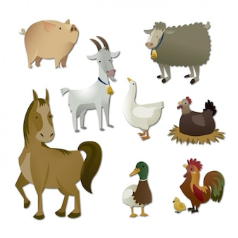 Colección de animales de granja a color