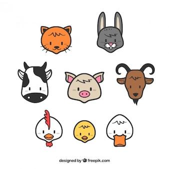 Colección de animales de granja con contorno