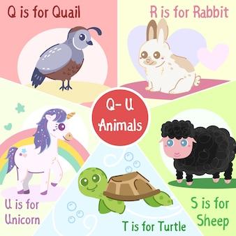 Colección de animales de la q a la u