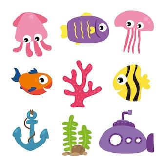 Colección de animales de mar
