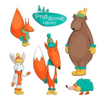 Colección de animales del bosque de dibujo