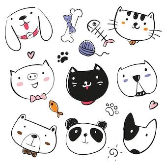 Colección de animales dibujados a mano