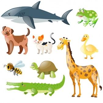 Colección de animales domésticos y salvajes