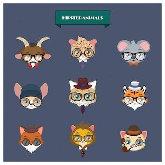 Colección de animales hipsters