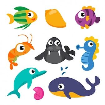 Colección de animales marinos