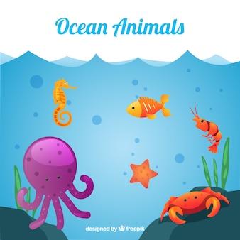 Colección de animales oceánicos