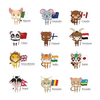 Colección de animales y banderas