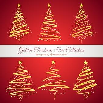 Colección de árboles de navidad abstractos dorados