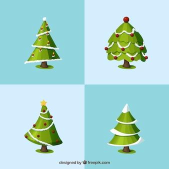 Colección de arboles de navidad en 3d
