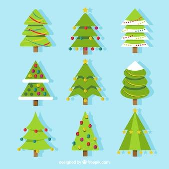 Colección de árboles de navidad en diseño plano