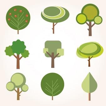 Colección de árboles en diseño plano