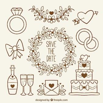 Colección de artículos dibujados a mano para bodas