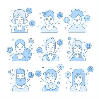 Colección de avatares azules