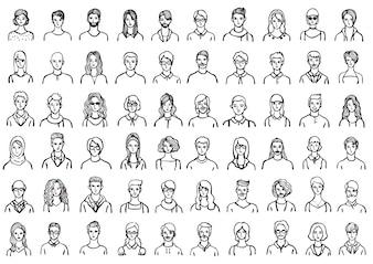 Colección de avatares de personas dibujados a mano