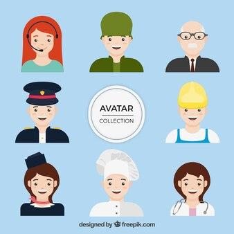 Colección de avatares de profesionales