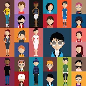 Colección de avatares humanos
