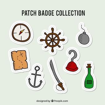 Colección de badges de piratas dibujados a mano