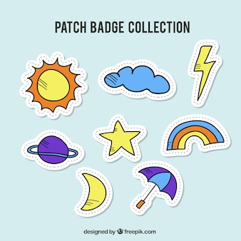 Colección de badges del tiempo atmosférico