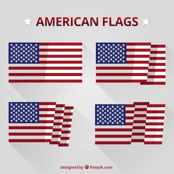 Colección de banderas americanas planas