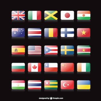 Colección de banderas de países en 3D