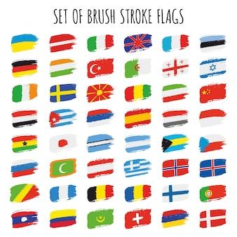Colección de banderas de pinceles