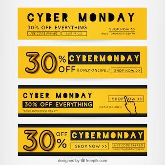 Colección de banners amarillos de Cyber Monday