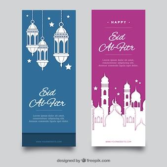 Colección de banners azul y rosa de eid al fitr