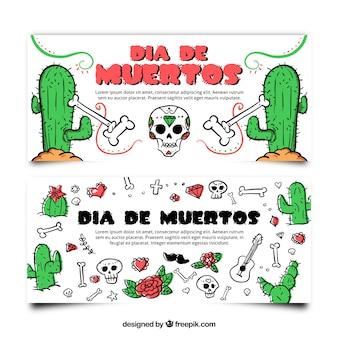 Colección de banners con cactus y calaveras