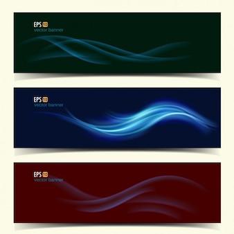 Colección de banners con ondas de colores