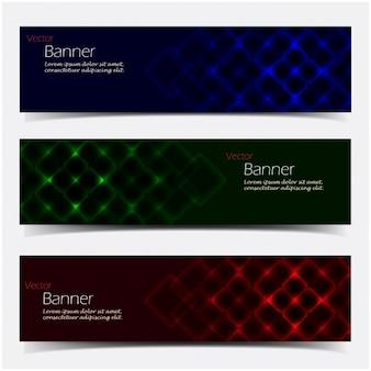 Colección de banners con reflejos de colores