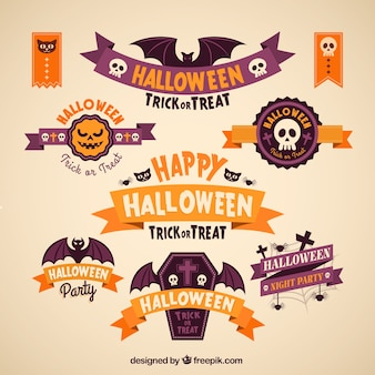 Colección de banners de feliz halloween