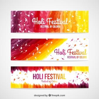 Colección de banners de festival Holi