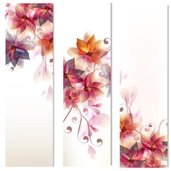 Colección de banners de flores