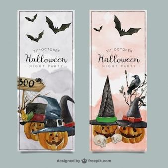 Colección de banners de halloween en acuarela