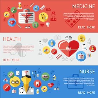 Colección de banners de medicina